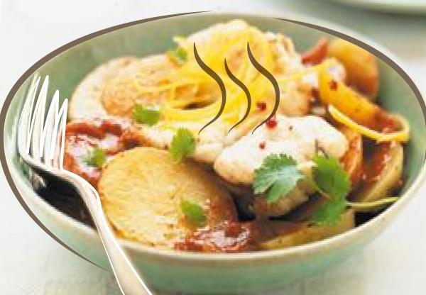 Tandoori de pommes de terre et lotte